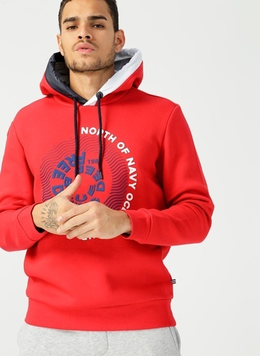 North Of Navy Sweatshirt Kırmızı